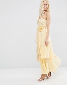 Ярусное платье миди на одно плечо с цветком ASOS - Кремовый