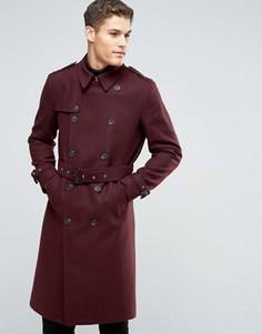 Бордовое двубортное пальто с добавлением шерсти с поясом ASOS - Красный