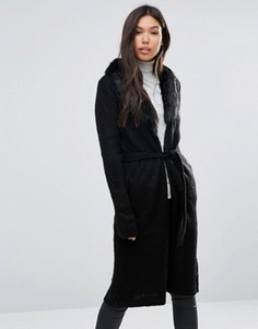 Пальто-кардиган с отделкой искусственным мехом QED London - Черный