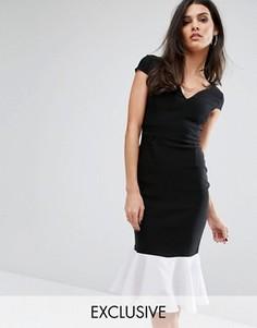 Приталенное платье с оборкой по подолу Vesper - Черный