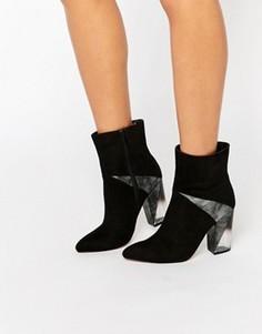 Ботинки на прозрачном каблуке с контрастной вставкой Truffle Collection - Черный