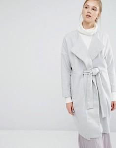 Пальто-кокон с запахом и поясом Paisie - Серый