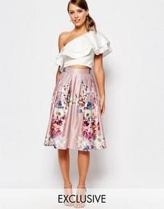 Атласная юбка миди с цветочным принтом True Violet - Мульти