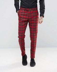 Зауженные брюки из 100% английской шерсти в клетку Noose & Monkey - Красный