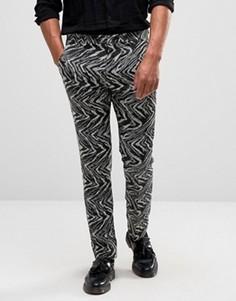 Черно-белые супероблегающие строгие брюки из фактурной ткани ASOS - Черный