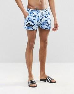 Короткие шорты для плавания с камуфляжным принтом Heist - Синий