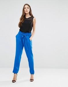 Синие брюки с присборенным поясом и завязкой Lavand - Синий