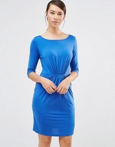 Синее цельнокройное платье со сборкой Lavand - Синий