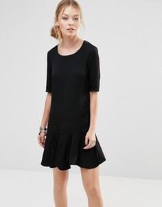 Свободное платье с баской по краю See U Soon - Черный