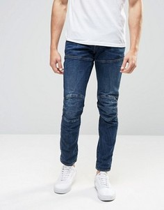 Темные состаренные джинсы слим G-Star Elwood 5620 3D - Синий