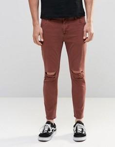 Укороченные джинсы скинни цвета ржавчины с рваными коленками ASOS - Коричневый