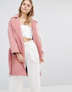 Строгое пальто свободного кроя с запахом House Of Sunny - Розовый