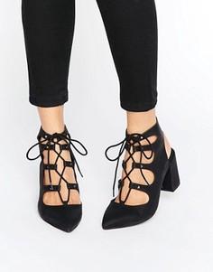 Туфли на среднем каблуке с заостренным носком London Rebel Ghillie - Черный
