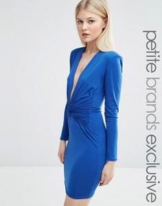 Облегающее платье мини с длинными рукавами и декольте John Zack Petite - Синий
