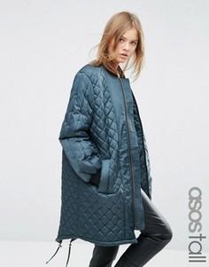 Длинная стеганая куртка ASOS TALL - Зеленый
