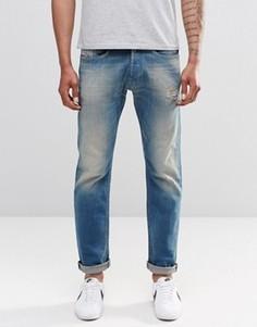 Выбеленные узкие джинсы с прорехами Diesel Akee 854V - Синий