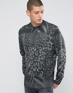 Свитшот с круглым вырезом и леопардовым принтом Diesel‑S‑Joe‑AR - Серый