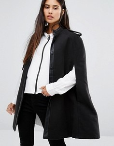 Пальто с кейпом и отделкой из искусственной кожи Noisy May - Черный