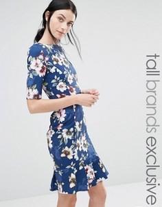 Платье с рукавами 1/2, цветочным принтом и баской по кромке Paper Dolls Tall - Темно-синий