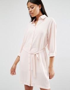 Платье-рубашка с длинными рукавами и поясом Love - Розовый