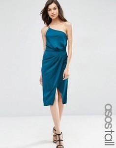 Атласное платье-футляр миди на одно плечо с драпировкой ASOS TALL - Зеленый