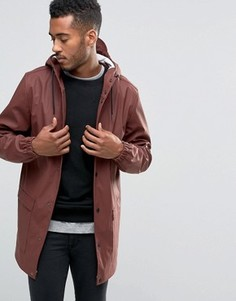 Водонепроницаемая куртка средней длины с капюшоном D-Struct - Красный