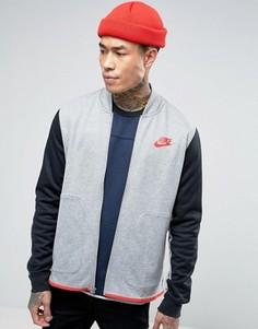 Серый свитшот на молнии с контрастными рукавами Nike 807247-063 - Серый