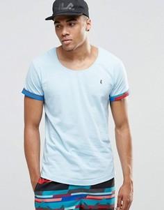 Пляжная футболка с глубоким вырезом и отворотами на рукавах Ringspun - Синий