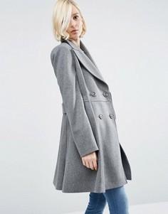 Приталенное пальто из шерстяной смеси в байкерском стиле ASOS - Серый