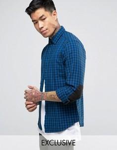 Синяя фланелевая рубашка в клетку Replay - Синий