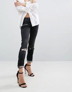 Байкерские джинсы скинни с классической талией и прорехами Replay - Черный