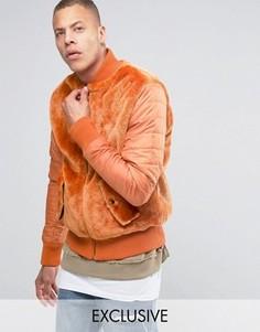 Плюшевая куртка‑пилот с нейлоновыми рукавами The New County - Оранжевый