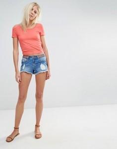 Джинсовые шорты с вышивкой на поясе Vero Moda - Синий
