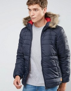 Дутая куртка с искусственным мехом на капюшоне Jack & Jones - Темно-синий