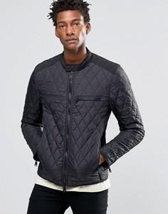 Стеганая нейлоновая байкерская куртка черного цвета Replay - Черный