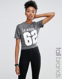 Укороченная футболка цвета металлик с принтом Noisy May Tall - Серый