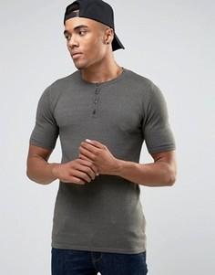 Облегающая трикотажная футболка с воротником хенли ASOS - Зеленый