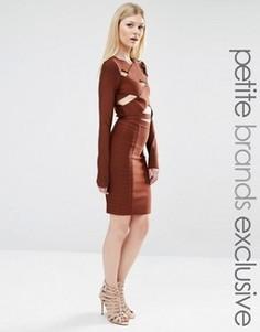 Бандажная узкая мини‑юбка True Decadence Petite - Коричневый