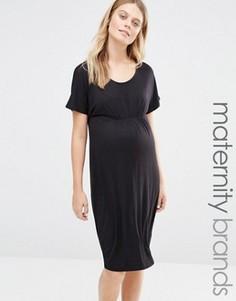 Трикотажное платье с короткими рукавами и присборенным лифом Mamalicious - Черный Mama.Licious