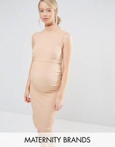 Платье миди в рубчик без рукавов для беременных Bluebelle Maternity - Бежевый
