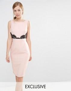 Платье-футляр с V-образным вырезом сзади и кружевной отделкой Elise Ryan - Розовый