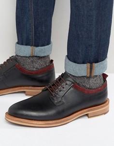 Черные кожаные туфли на шнуровке с подошвой натурального цвета ASOS - Черный
