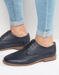 Темно-синие кожаные туфли со шнуровкой ASOS - Темно-синий