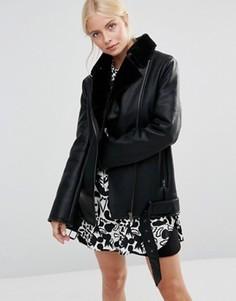 Байкерская oversize‑куртка из полиуретана Barneys Originals - Черный
