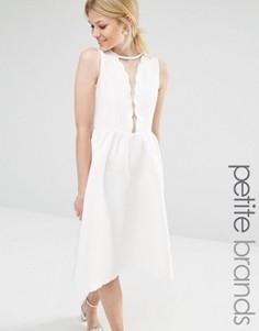 Короткое приталенное платье с фигурной отделкой Boohoo Petite - Белый