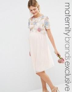 Приталенное платье для беременных 2 в 1 с вышитыми розами Maya Maternity - Кремовый
