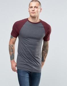 Удлиненная серо‑красная футболка с контрастными рукавами реглан ASOS - Черный