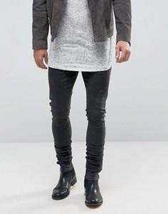 Удлиненные джинсы скинни с покрытием и сборками ASOS - Черный