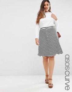 Расклешенная юбка миди в полоску на кнопках ASOS CURVE - Черный