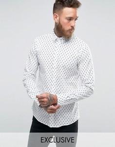 Рубашка зауженного кроя с принтом черепа Noose and Monkey - Белый